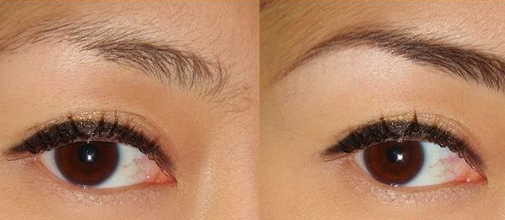 Before and after using castor oil for eyelashes